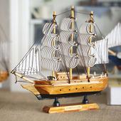 地中海后现代风格 实木礼品帆船模型摆件 节日礼品 可组成舰队