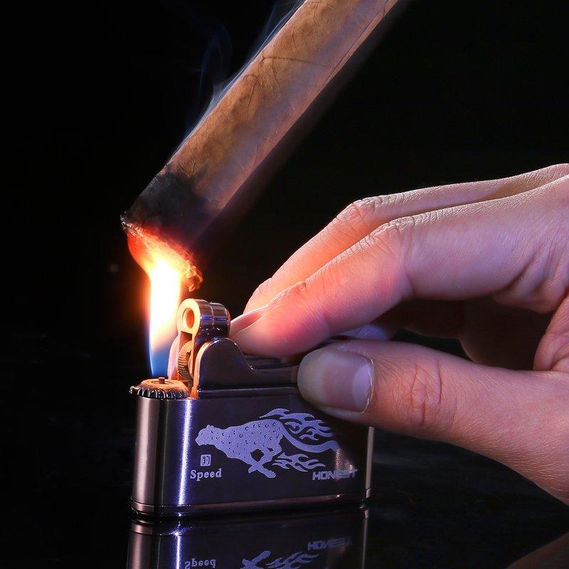 百诚正品台式砂轮打火机气体充气明火石金属创意个性电子烟具礼品
