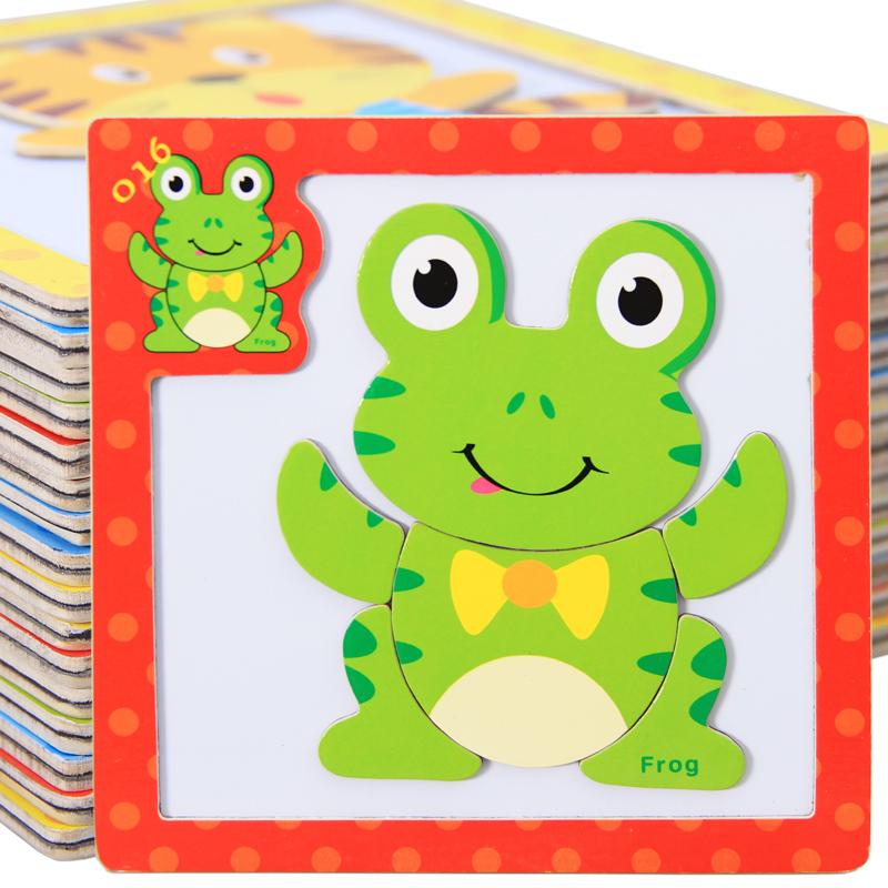 动物磁性拼拼乐木制立体儿童拼图拼板儿童益智力积木