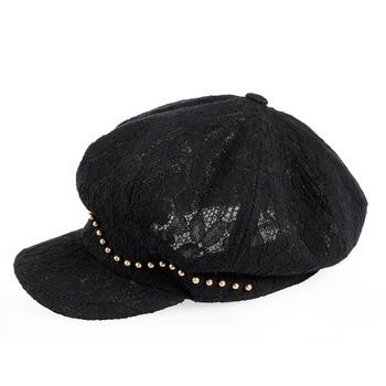 华南时尚英伦优雅蕾丝贝雷帽八角