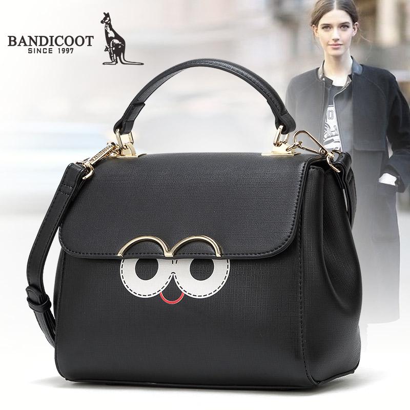 袋鼠正品女包秋冬新款手提包呆萌眼睛女士单肩包包盖式斜挎包包