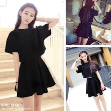 女高腰连衣裙半身短裙 短袖 名媛韩版 T恤两件套装 修身 2017学生夏装