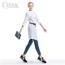 限时打折 朵朵船 中长款衬衫女 中袖修身百搭白衬衫连衣裙