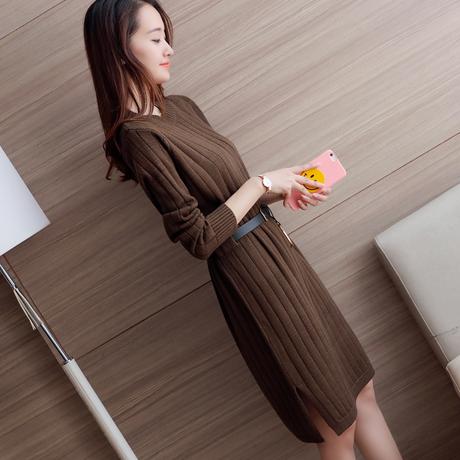 2018秋冬季新款韩版女装过膝针织连衣裙中长款打底衫宽松套头毛衣商品大图