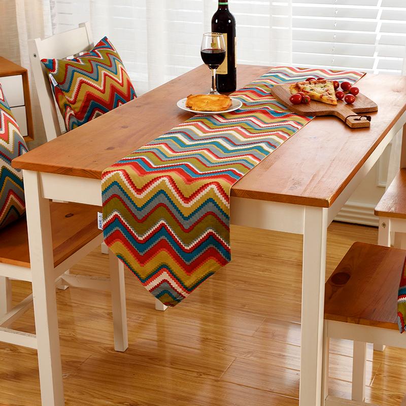 蓝松鼠布艺 美式条纹印花桌旗欧式田园风餐桌桌旗电视柜茶几桌旗