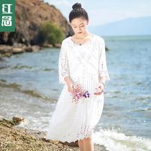 红念2017夏装新款假两件连衣裙 中长款宽松长裙子夏季大码女装图片