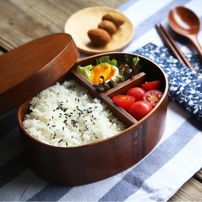 尤布乐饭盒日式分隔便当盒木质日式碗分格一层餐盒寿司盒