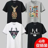 4件装 夏季短袖t恤男 圆领纯棉宽松日系加肥加大码纯棉体恤潮男装