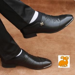 真皮新款商务正装皮鞋男士皮鞋冬季加绒黑色新郎婚鞋尖头青年韩版
