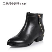 C.BANNER/千百度 冬季牛皮粗跟拉链欧美女靴短靴A5517580