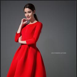 2016春装新款大码女装胖mm修身显瘦加肥加大大红打底连衣裙蓬蓬裙