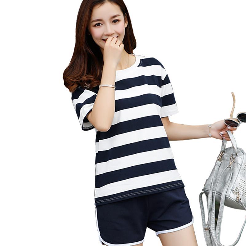 运动套装韩版潮女学生夏季休闲跑步两件套短袖宽松
