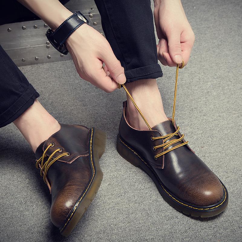 男夏季休闲鞋工装鞋真皮圆头皮鞋韩版潮鞋复古男鞋大头皮鞋马丁鞋