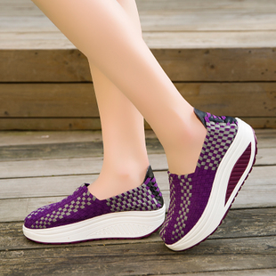 中老年夏季鞋编织鞋摇摇鞋34码女鞋单鞋套脚鞋纯手工松紧带编织鞋
