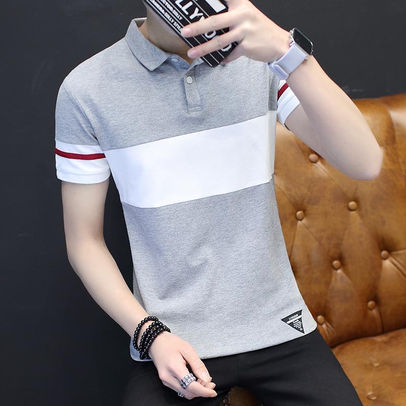 夏季新款男士短袖t恤衬衫领商务polo衫丅恤修身青年保罗衫体恤潮