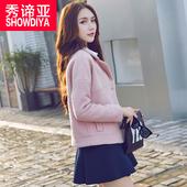 2017春装新款毛呢外套女短款修身韩版学生加厚外套羊毛呢子大衣潮