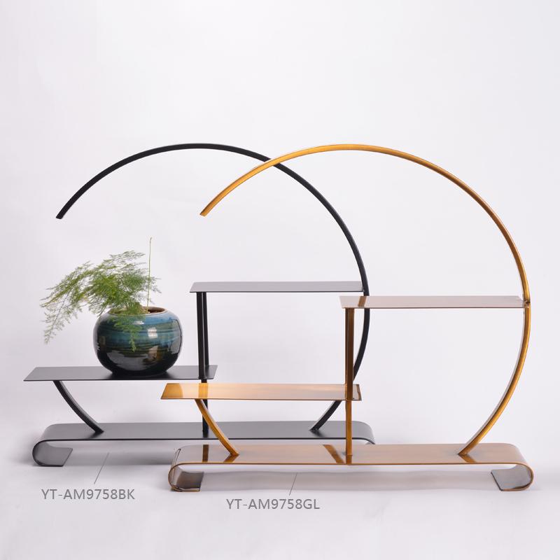 新品现代中式大成若缺铁艺博古架摆件书房办公室软装饰品创意摆设图片