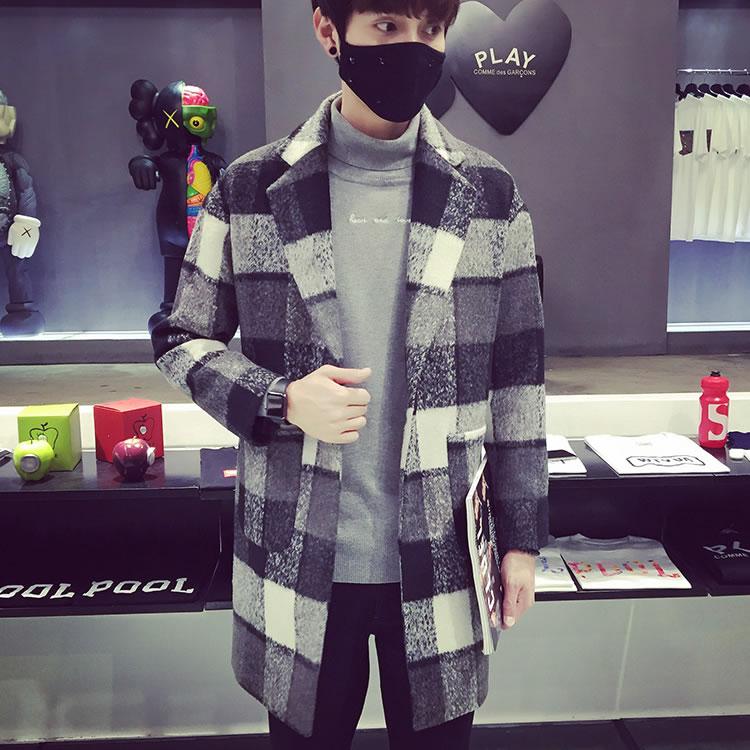 2015冬季男装衣服 时尚潮男气质格子中长款男士毛呢大衣韩版外套