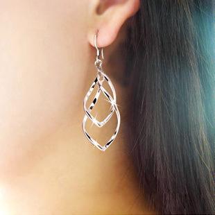 经典时尚超闪亮合金耳钉 扭曲菱形多层耳环 双环淑女OL 耳饰