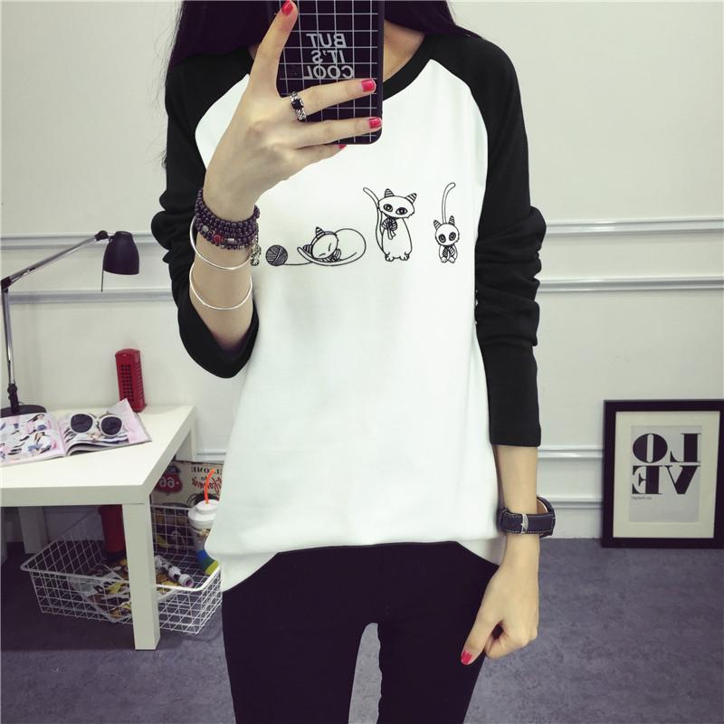 秋季印花拼接黑色常规新款韩版女装圆领宽松女式长袖打底衫T恤