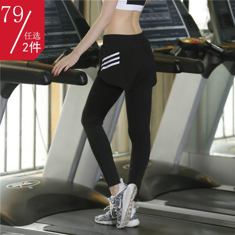 秋冬新款 假两件运动裤女健身长裤速干跑步瑜伽紧身九分裤瑜伽裤
