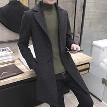 冬季风衣男中长款青年修身韩版呢子大衣冬装男士加绒加厚男装外套