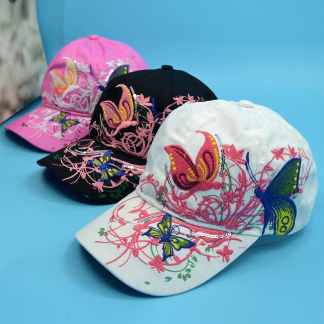 女士鸭舌帽民族韩版潮蝴蝶棒球帽防晒户外刺绣太阳遮阳夏季
