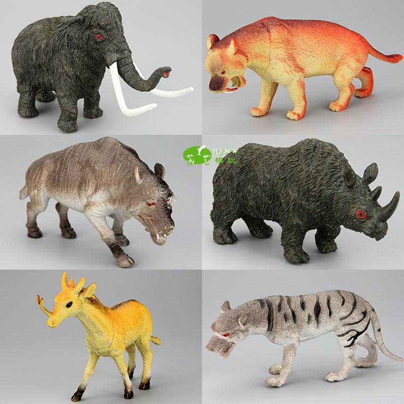 仿真史前动物模型灭绝猛犸象剑齿虎恐狼巨猪独角兽