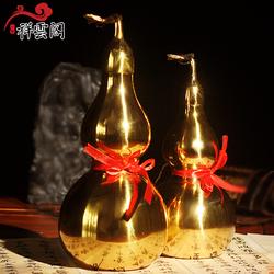 包邮祥云阁精品纯铜葫芦摆件开盖大小号家居铜风水八卦葫芦摆件