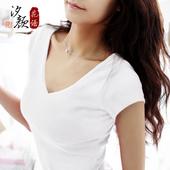 夏体恤纯棉t恤女短袖白色显瘦小衫打底衫纯色黑色V领修身半袖韩版