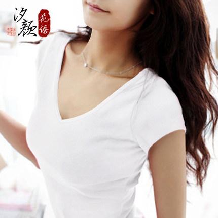 2017新款白色t恤女夏纯棉显瘦打底衫韩版体恤修身紧身纯色V领短袖