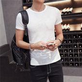 潮半袖 衣服 夏季男装 纯色短袖 紧身打底衫 t恤体恤白色黑色修身 男士