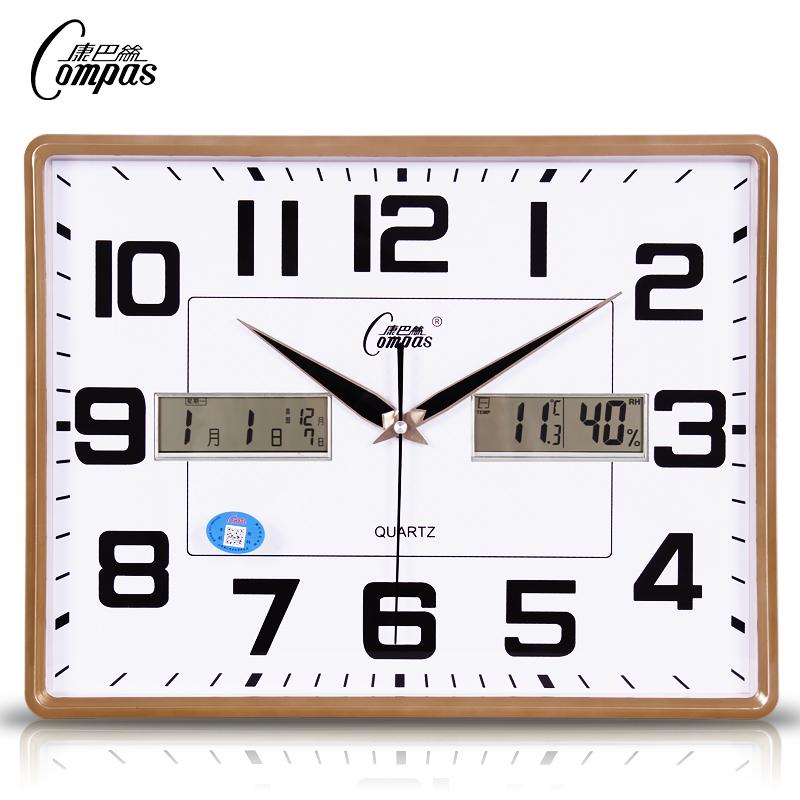 康巴丝温湿度挂钟客厅卧室办公钟表超静音日历万年历大号石英钟