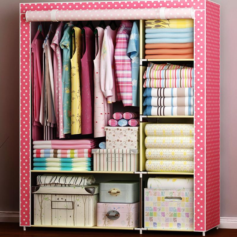 衣柜简易布衣柜拆装组装宿舍衣柜钢架无纺布衣柜收纳衣橱布艺衣柜