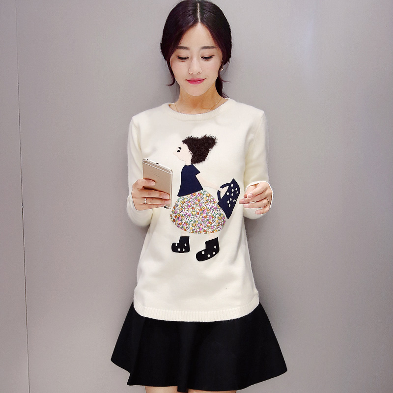 短款套头毛衣女2015秋冬新款上衣女装韩版圆领宽松保暖打底针织衫