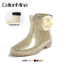 秋冬水靴厨房胶鞋 短筒果冻雨鞋 女式防水鞋 高跟雨靴韩版 春夏季时尚