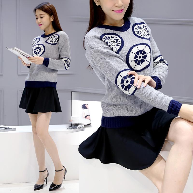欧洲站2015新款秋季韩版女装针织连衣裙秋冬两件套半身短裙子套装