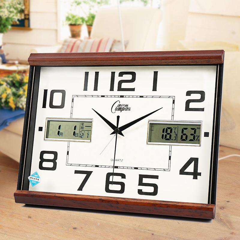 康巴丝挂钟客厅台钟卧室闹钟办公钟表静音日历万年历石英钟温湿度
