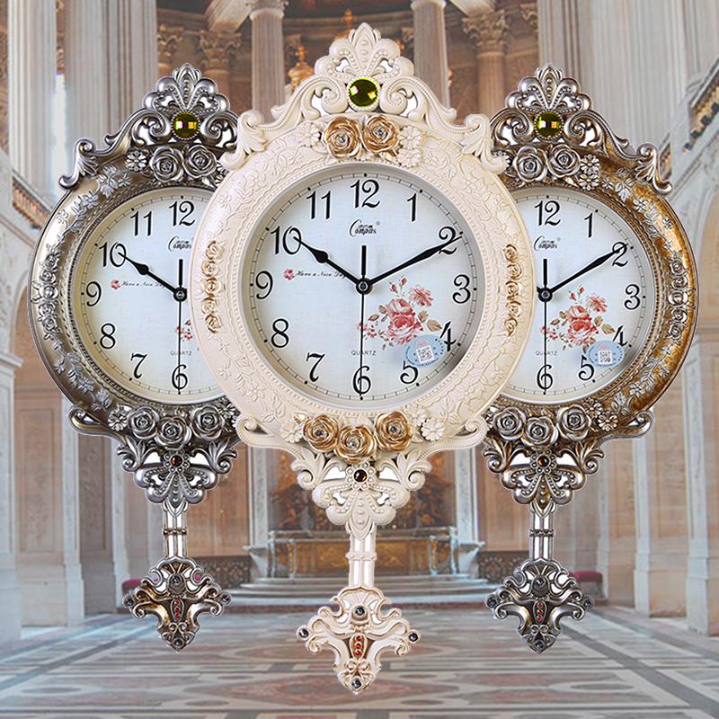 康巴丝客厅静音挂钟欧式创意时尚艺术石英时钟卧室壁