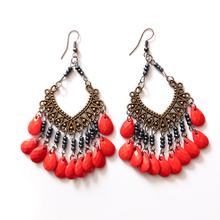 波西米亚时尚复古耳环 饰品 精美耳坠  韩版气质红色耳饰 女神范