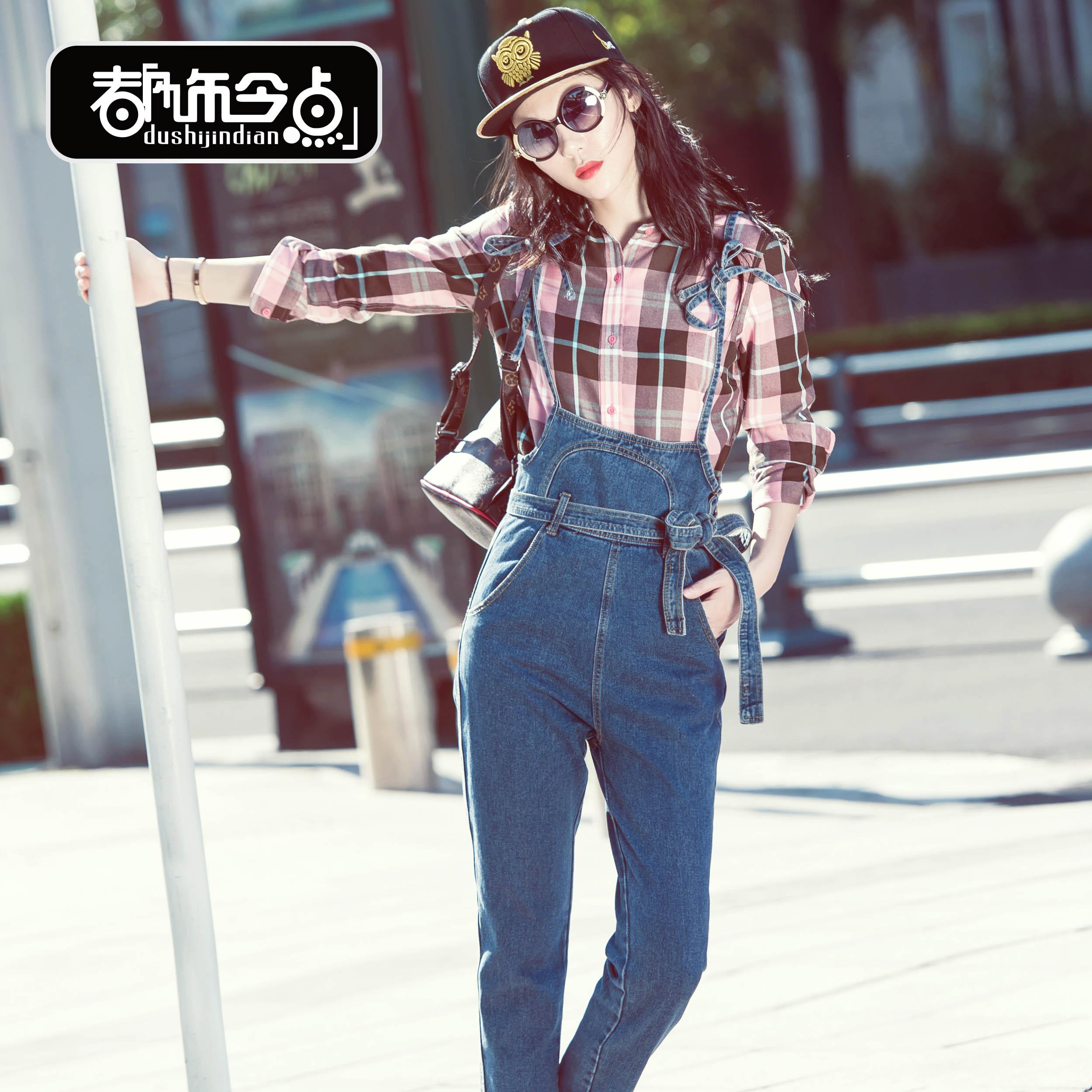 2017新款韩版修身显瘦宽松背带牛仔裤休闲学生九分裤女连体潮流
