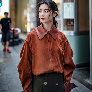 原创简约立体大方领砖红色衬衫抽摺系扣折叠袖衬衣宽松廓形上衣秋