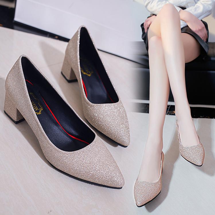 單鞋春季尖頭中跟淺口粗銀色高跟鞋亮片