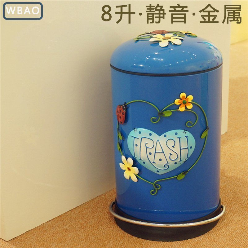 家用圆形地中海垃圾桶带盖脚踏式可爱款客厅厨房创意欧式厕所大号
