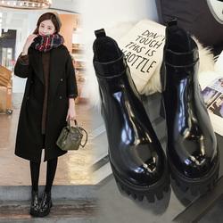 欧美秋冬粗跟短靴黑色漆皮马丁靴踝靴防水台厚底女靴中跟裸靴女