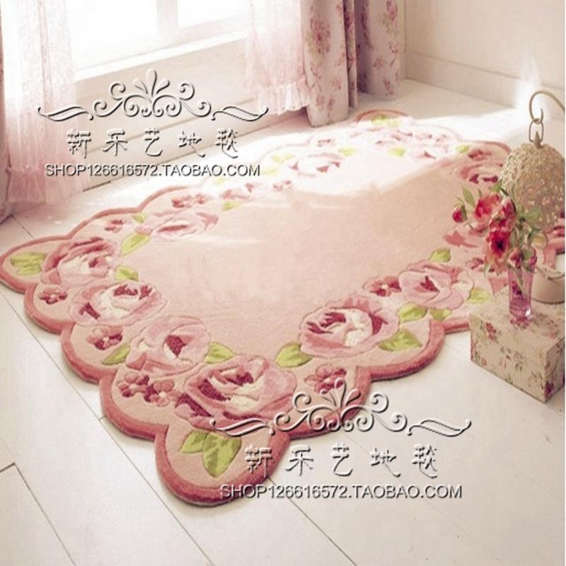 粉色玫瑰田园欧式茶几地毯客厅脚垫卧室榻榻米地垫