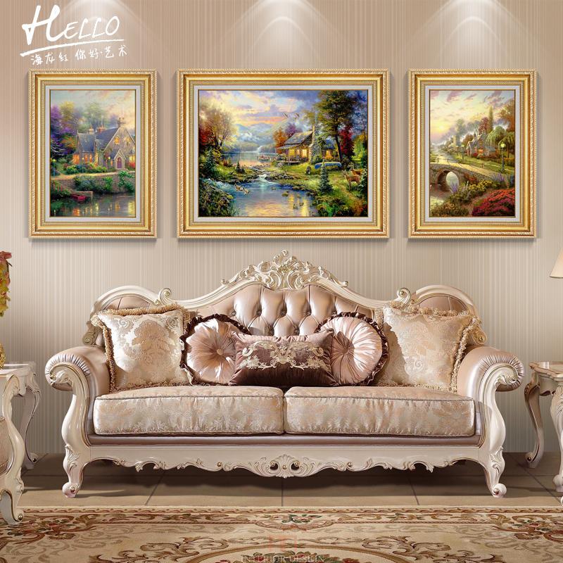 淘宝-欧式风景油画客厅山水挂画简欧走廊过道装饰画