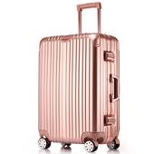 玫瑰金铝框拉杆箱密码行李箱旅行箱万向轮20登机箱24/26/29寸男女