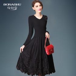 2016春装新款优雅V领复古针织长袖修身连衣裙中长款大码女装显瘦