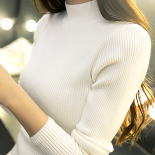 秋冬韩版短款宽松半高领毛衣打底衫女外套长袖套头加厚紧身针织衫